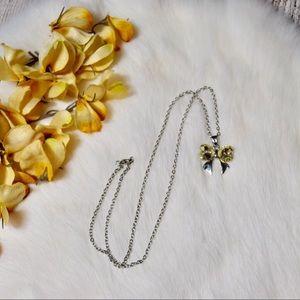Jewelry - 5/$25 Silver Rhinestone Bow Necklace